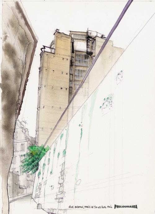 Paris, vue des anciens bureaux de l'architecte Auguste Perret, Rue Berton