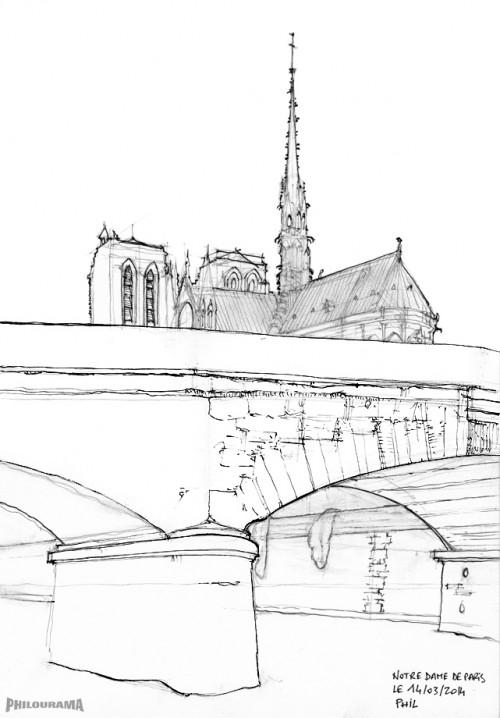 Notre Dame de Paris, plume et encre de chine
