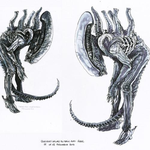 Etude de Alien, dans le train, d'après le hors-série Métal Hurlant