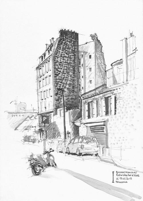 Croquis, Rue du Vieux Pont de Sèvre, Boulogne Billancourt