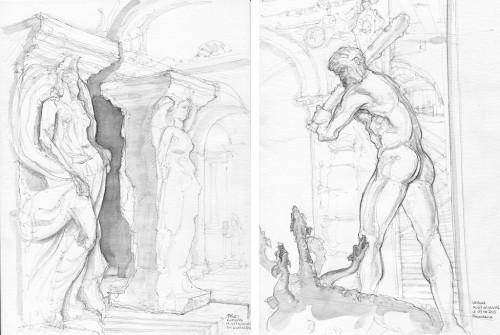 Musée du Louvre, trucs en pierre et sculpture italienne