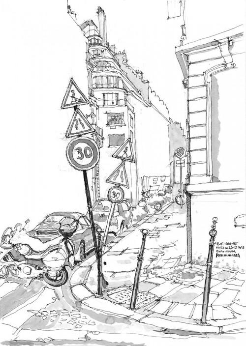 Paris, croquis rue Vernet, stylo encre et feutres pinceau