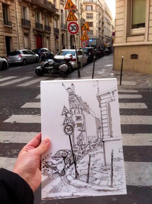 Paris, croquis rue Vernet, vue Twitter