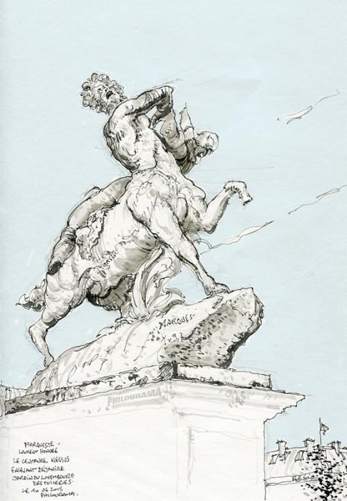 Le Centaure Nessus, Palais des Tuileries, stylo plume et lavis