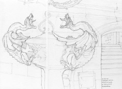 Anses de vases, Escalier Lefuel, Musée du Louvre, crayon