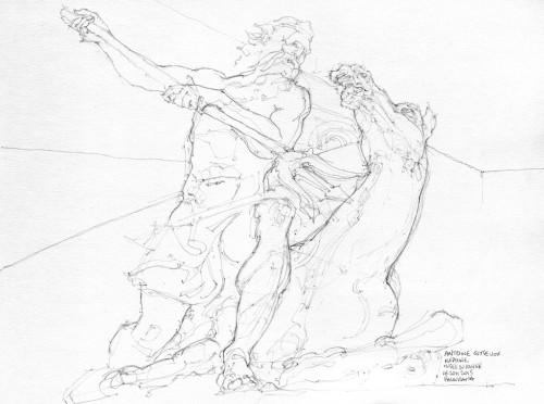 Sculpture de Antoine Coisevox, Musée du Louvre, croquis crayon