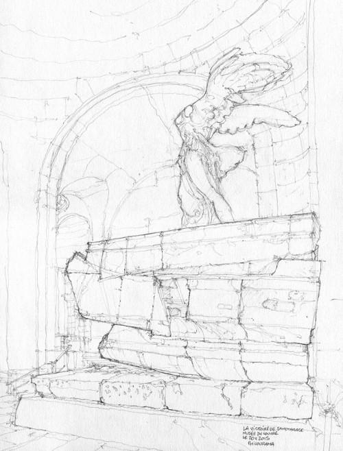 Victoire de Samothrace, Musée du Louvre, croquis au crayon