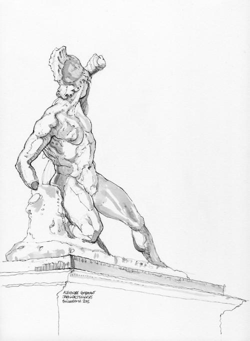 Sculpture de Alexandre Combattant, Jardins des Tuileries, feutre et lavis