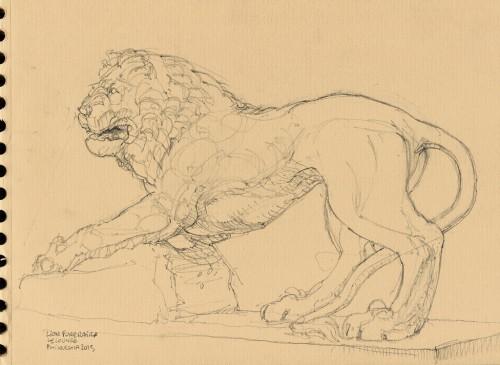 Lion Funéraire, sculpture romaine, Musée du Louvre